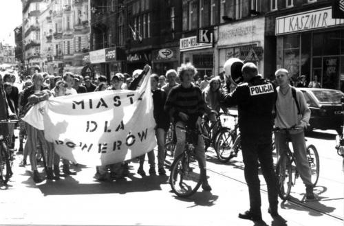 Demonstracja rowerowa, Gliwice, 1995